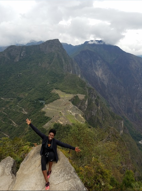 "After 45 minutes of hiking uphill… the tip top of Huayna Picchu (meaning ""young peak"") at the highest point of Machu Picchu.    (photo cred: Security Guard)"