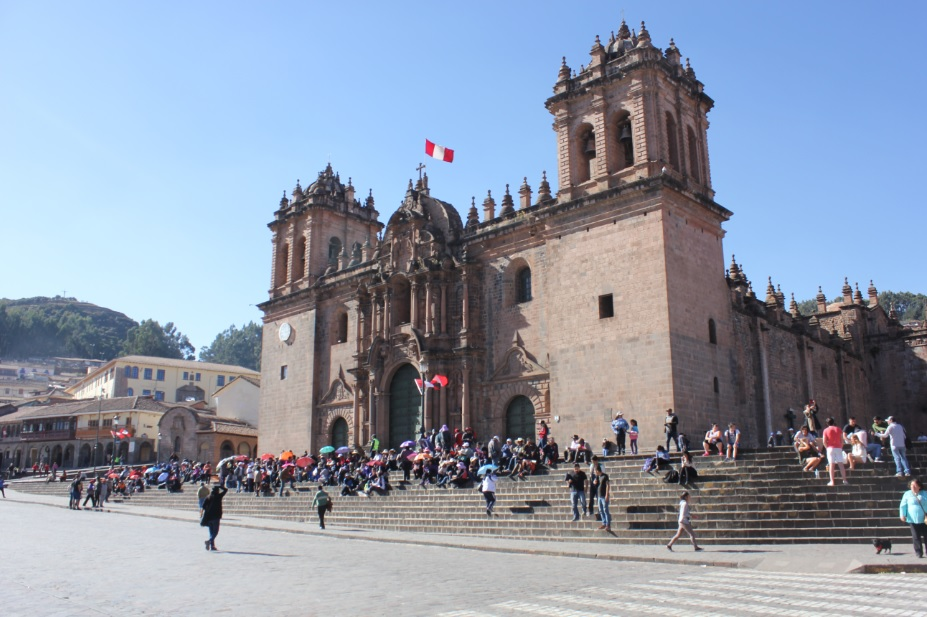 My daily walk through Cusco's main square, Plaza de Armas.