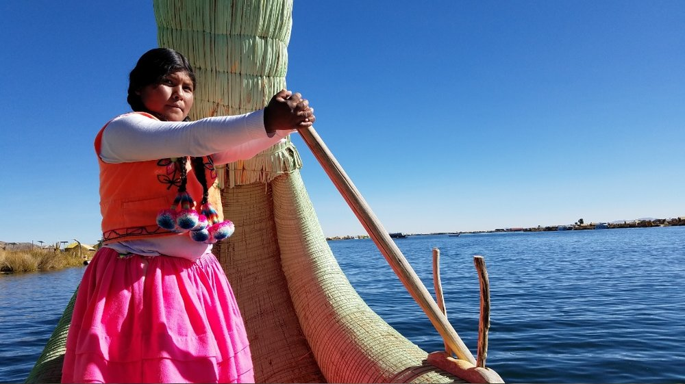 Leaving the Island of Uros paddled by this badass chica.