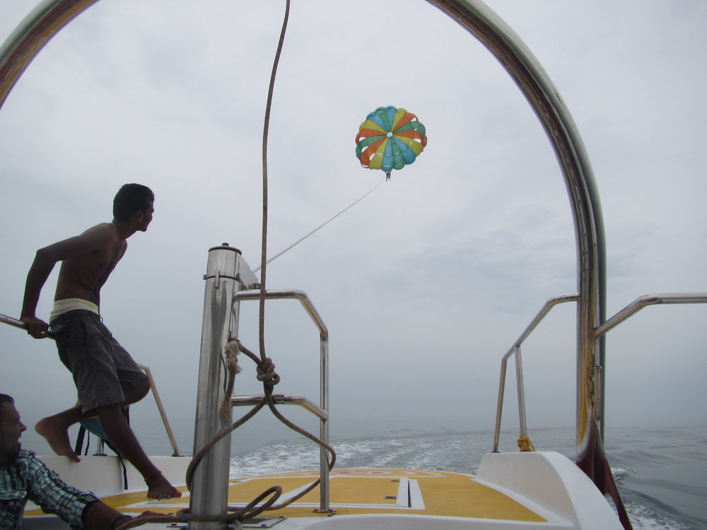 Parasailing in Goa, India's beach town.