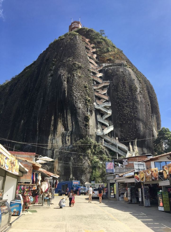 I took a day trip from Medellín to Guatapé to see El Peñón de Guatapé, the giant rock. It's only 600+ stairs to the top! When our tour guide suggested we could climb it in about 10 minutes I was skeptical… but I survived! And then took a much needed rest at the top. :)