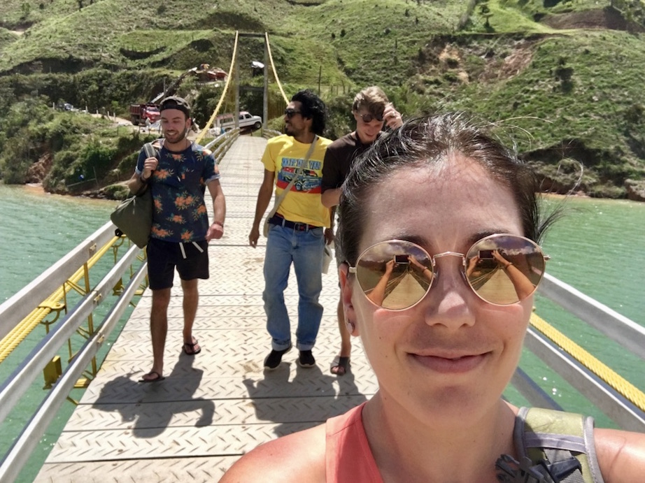 With our tour guide and fellow travelers on one of the stops on our tour to Guatapé. We jumped off the bridge and went swimming in the lake below.