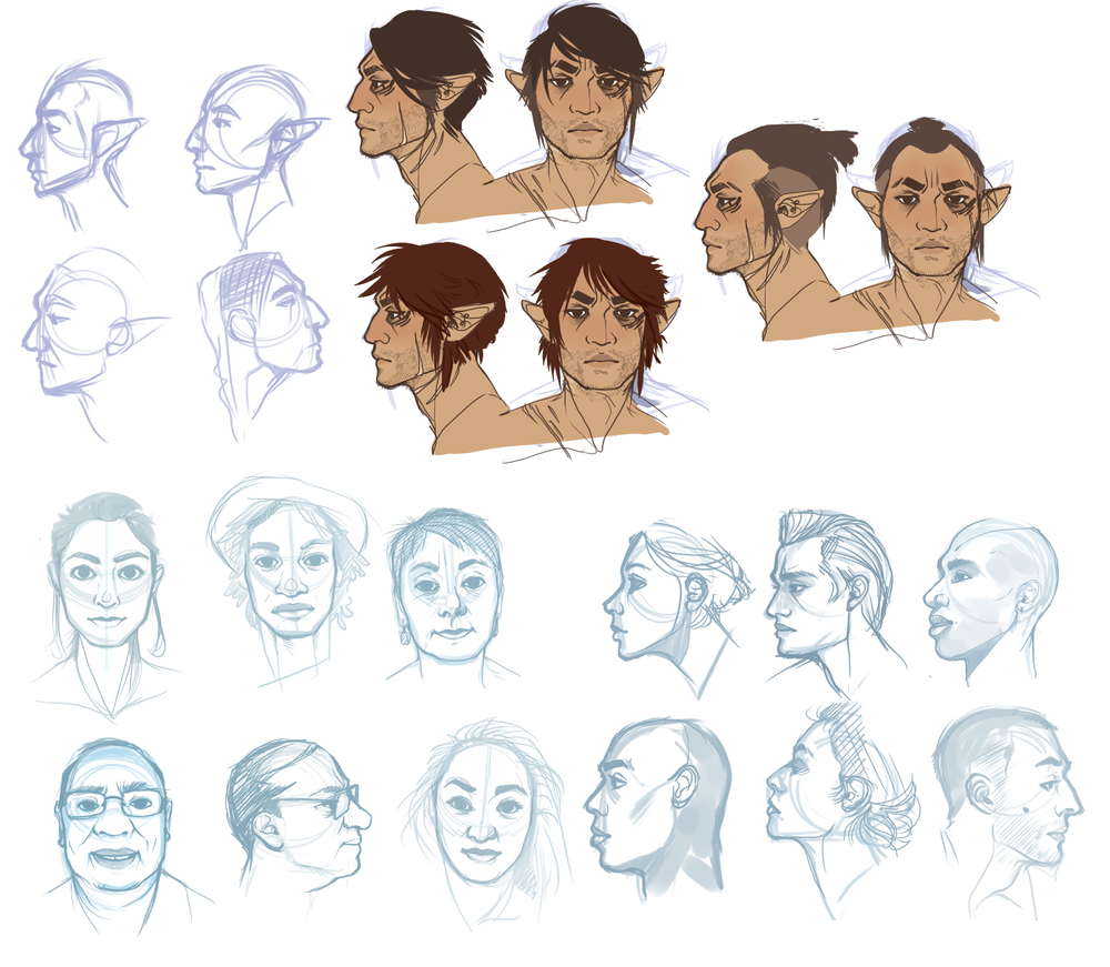 Feb 2015 - PaintTool Sai  Facial Studies leading into redesign concepts for a personal characters