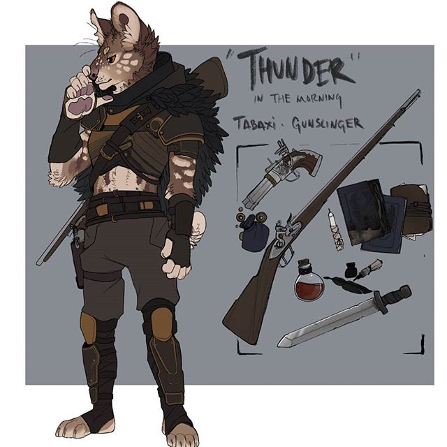 Finally took the time to make a lil ref sheet for my PC in my main campaign :'  Thunder the tabaxi gunslinger. #tabaxi #gunslinger #dnd #dnd5e #dungeonsanddragons #playercharacter #artistsoninstagram