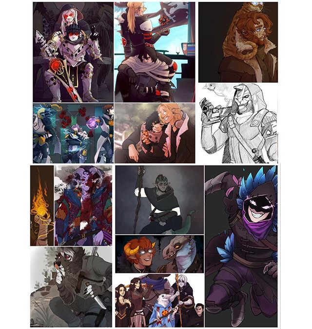 Did the 2918 art year in review - couldn't really do it month by month since I had so many dry spells but this is mostly in order !! I didn't do a lot of finished pieces this year but I sure tried — #artistsoninstagram #fortnite #grima #risenking #chrom #fireemblem #fireemblemawakening #erasermic #eraserhead #presentmic #destiny #cayde6 #mollymauk #calebwidogast #criticalrole #dnd #dnd5e #dungeonsanddragons