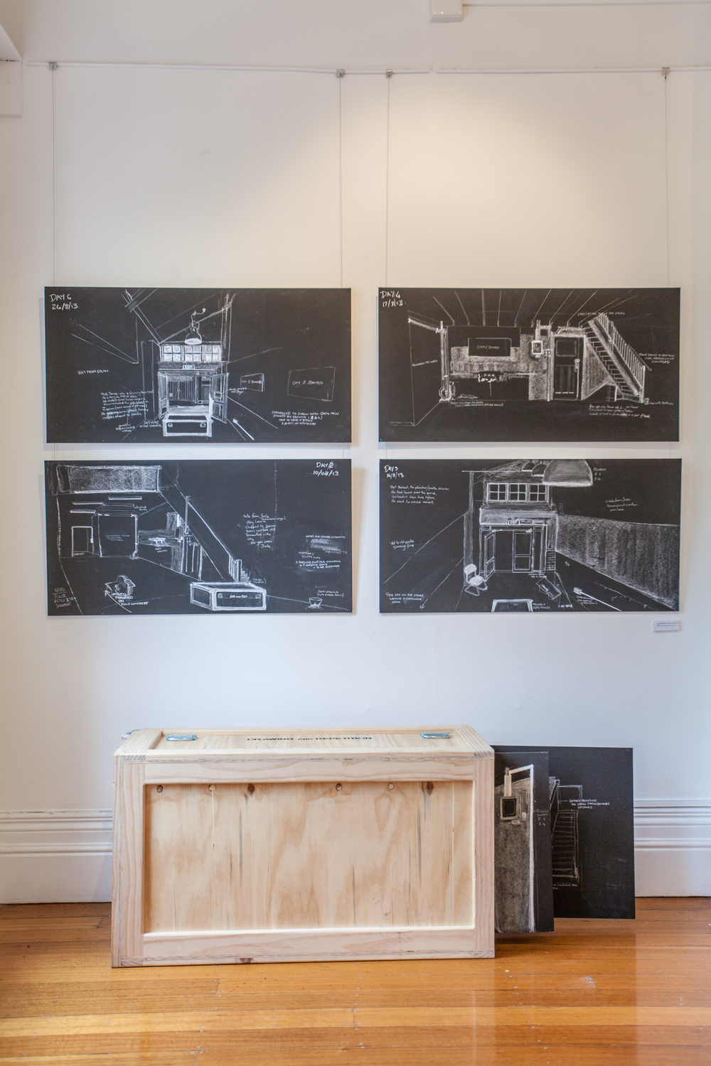 Laura Hindmarsh - Repetitive Drawing Project, 2013, series of 6 chalk drawings, wooden crate