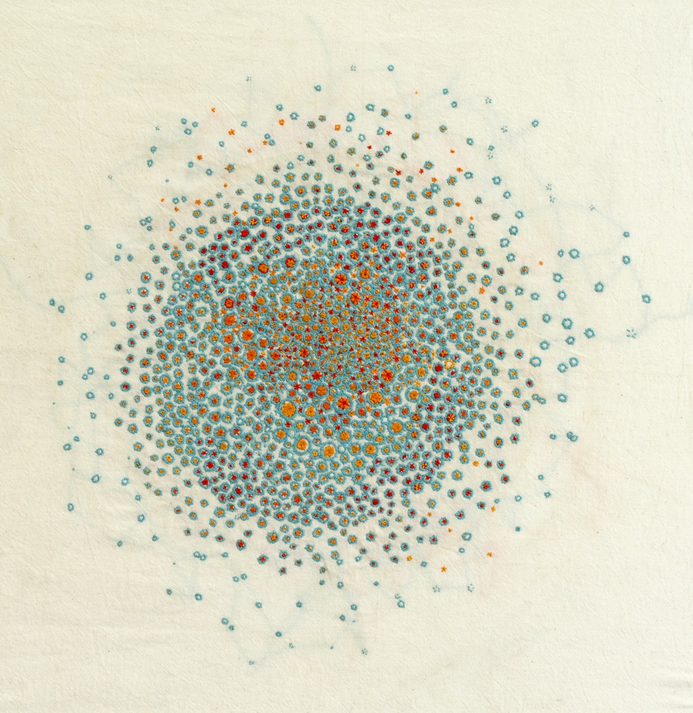 Abigayle Tett - Hum, 2012, embroidery on calico, 35 x 35cm