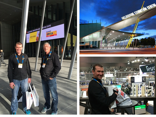 Simon and Andre of Cutshop attend the 2016 AWISA Exhibition in Melbourne