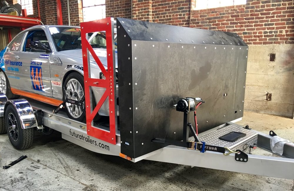 Futura Trailers - we can cut almost anything including producing a hard-wearing thermoplastic stone guard to protect performance cars in transit - we then developed a space saving crate system for exporting the trailer units to the US.  Cutshop it!