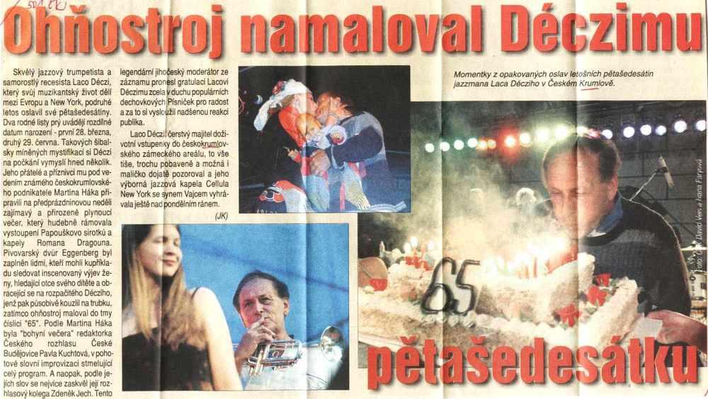 65. narozeniny Laca Decziho v Českém Krumlově / Laco Deczi's 65th birthday celebration show