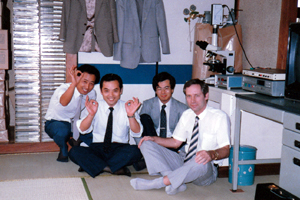 Arnold Kamp visiting JHT in Japan. Arnold is picture here with Takamasa Iwasaru, Shuzo Fujimoto and interpreter Shigeru Kakuchi