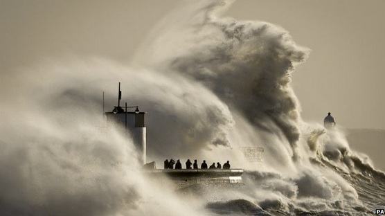 A dramatic start to the year on the west coast of England as huge waves crash at Porthcawl, near Bridgend (photograph from BBC news)