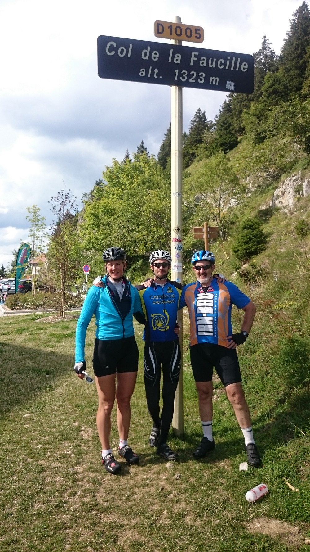 Sarah, John and Mike at the highest point of the ride, just before their descent into Geneva