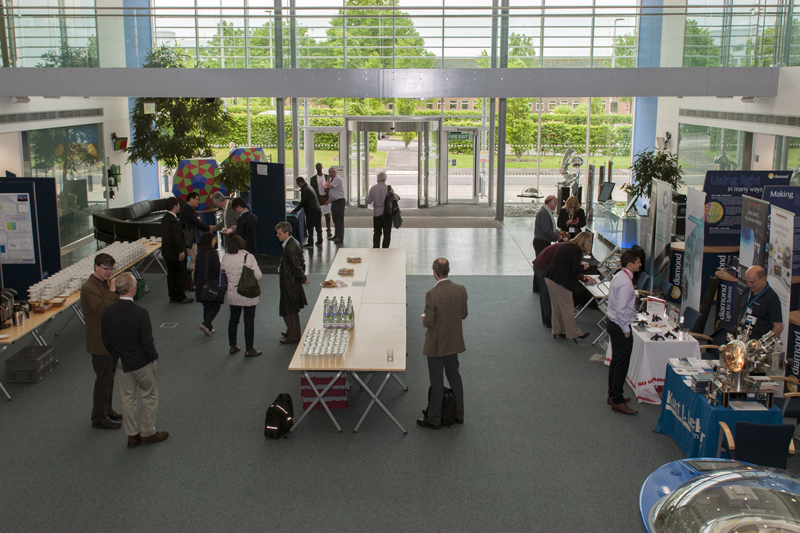 Exhibitors preparing for the opening of the Bio-XFEL workshop (image courtesy of the Science and Technology Facilities Council).