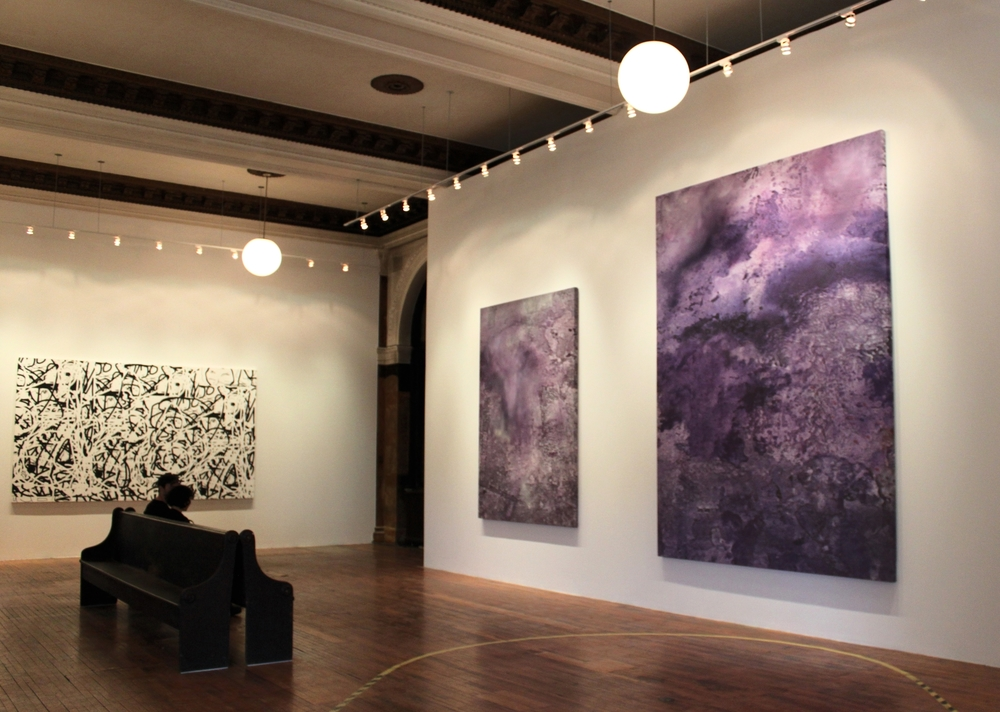 Left: Jeff Elrod -  Dream Machine (for Brion Gysin) , 2009; Right: Julian Schnabel -  Untitled  (L), and  Untitled  (R), both 2015.