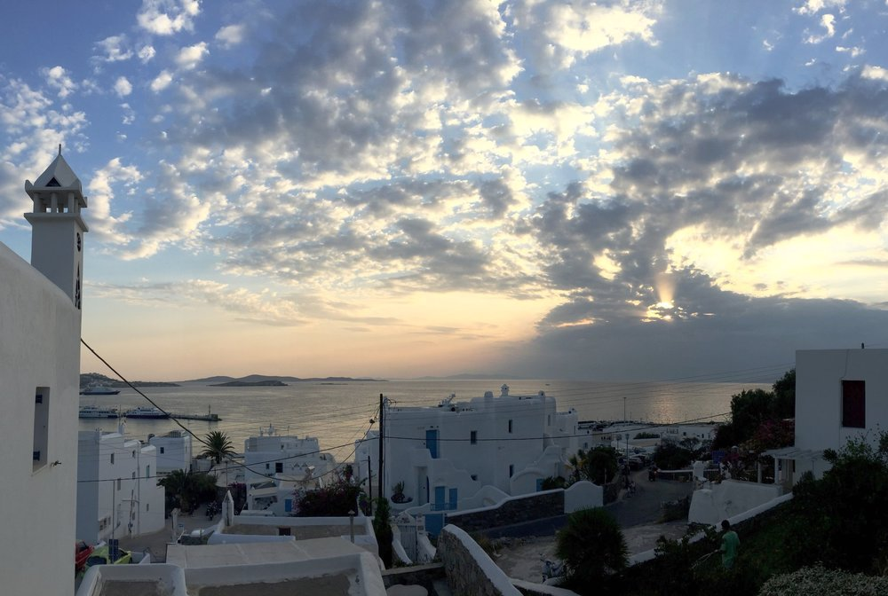 Sunset view from our AirBnB right at the entrance to the town centre of Mykonos.