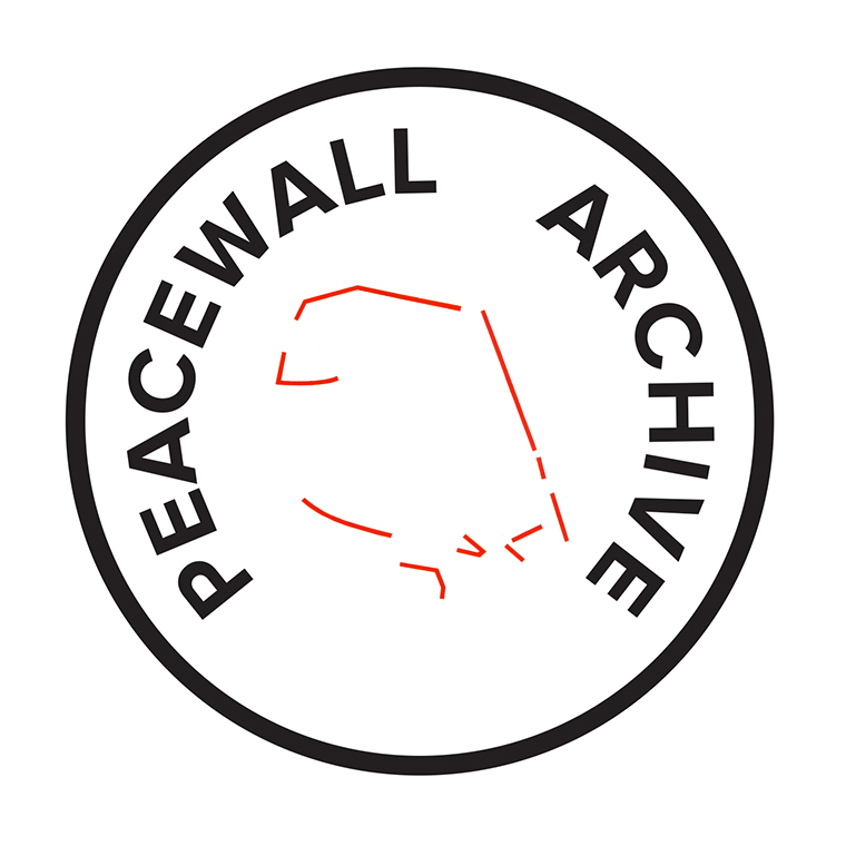 The Peacewall Archive stamp, with a drawing of Short Strand / Inner East Interfaces at its centre.