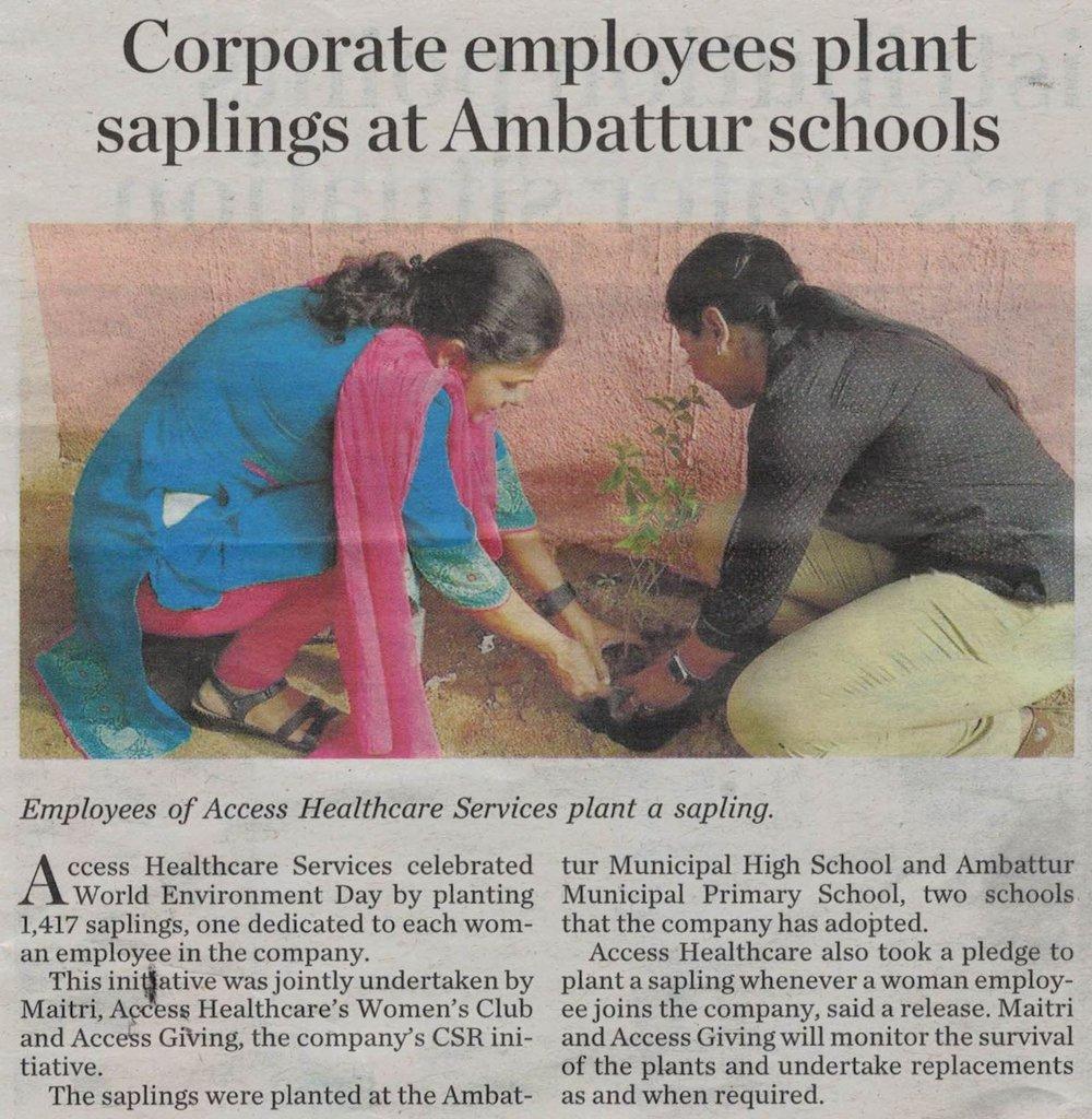 accessgiving Ambattur School Sapling plantation