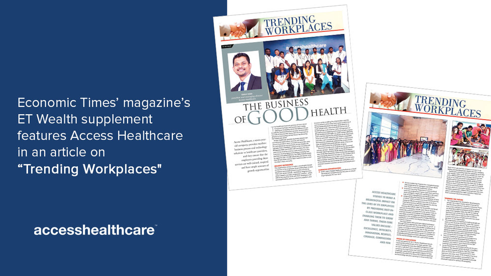 Economic Times' magazine's ET Wealth supplement features Access Healthcare in an article on Trending Workplaces.jpg