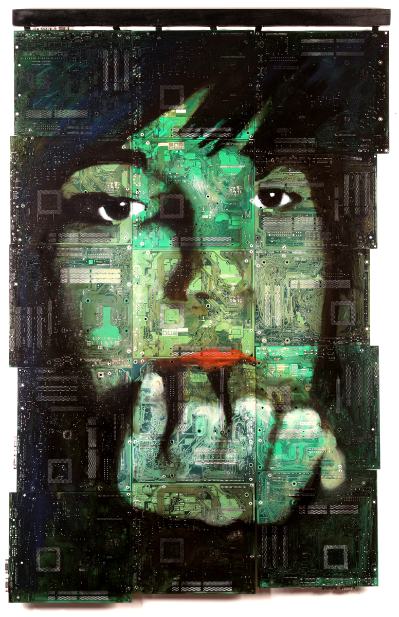 Millennial Boy, 2015  Oil on mosaic tapestry of 15 computer motherboard panels,  29.5 x 46 in. (74.9 x 116.8 cm)