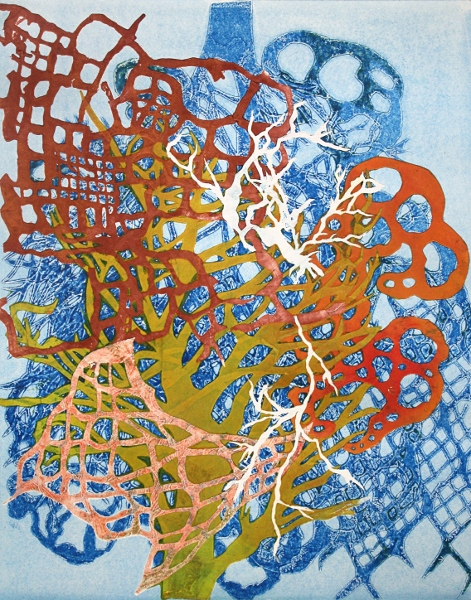 "Blue Lattice 2  Monoprint  14"" x 11""   2014"