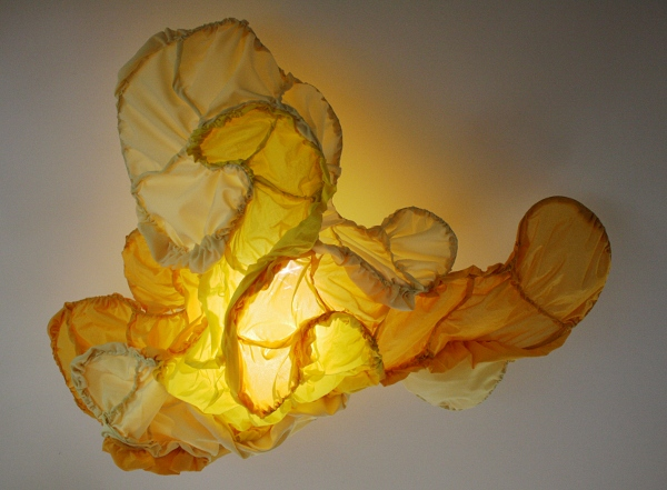 "Yellow Billow 1  Fabric, wire, thread, light  52"" x 40"" x 21""  2012"
