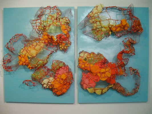 "Yellow Plume  Steel, copper, fabric, plastic, silicone, acrylic, and latex on wood 2 panels, each 40"" x 30"" x 10""  2011"