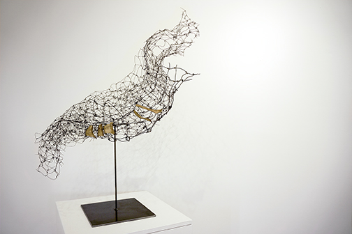 WireWorks-Cradle, annealed steel wire, wleded steel, rice paper, shellac, 850, 30x28x20.jpg