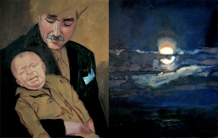 Papa e Figlio Oil on canvas Diptych (2 panels 22 x 28 in. each)