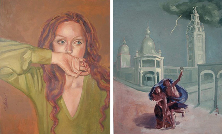 The Mystery Cults (The First) Oil on canvas Diptych (2 panels, 22 x 28 in. each)
