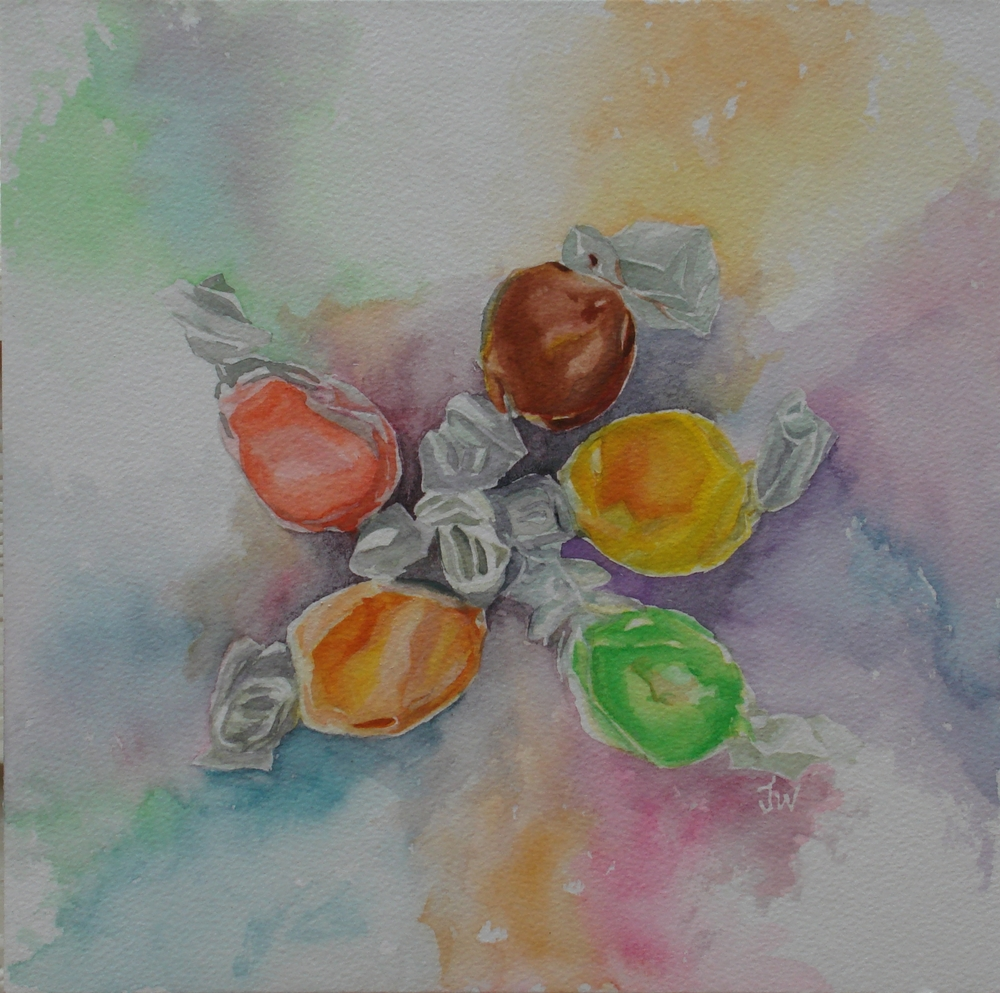 wicked good taffy , watercolor, 12x12, 400.JPG