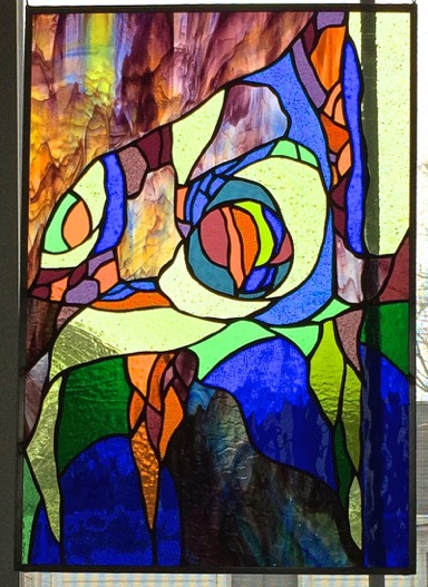 Blue Grotto    Stained Glass Copper Foil      15  x 21 in. 2015