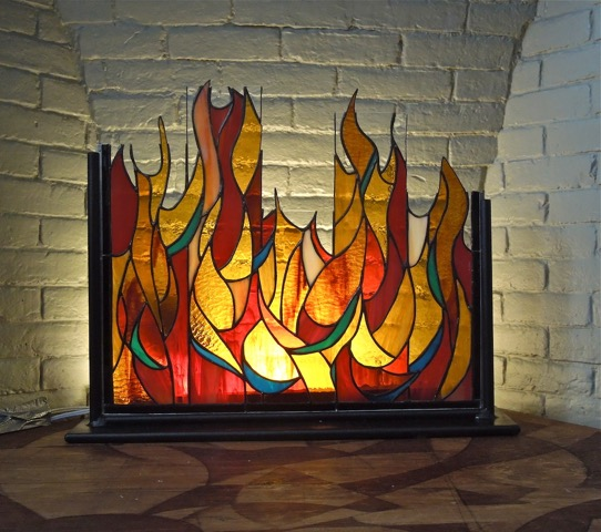 Fireplace Piece              Stained Glass Copper Foil  24 x 18 in.    2013