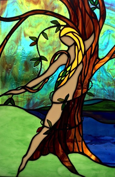 The Transformation of Daphne   Stained Glass Copper Foil  13 x 20 in. 2015