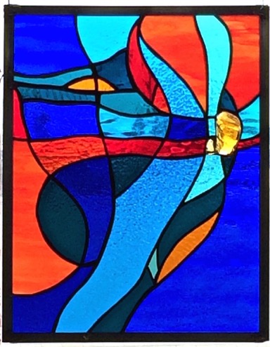 Music of the Spheres Stained Glass Copper Foil   12 x 15.5 in.         2014