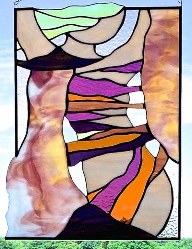 The Birth of Luna Stained Glass Copper Foil     15 x 20 in. 2015