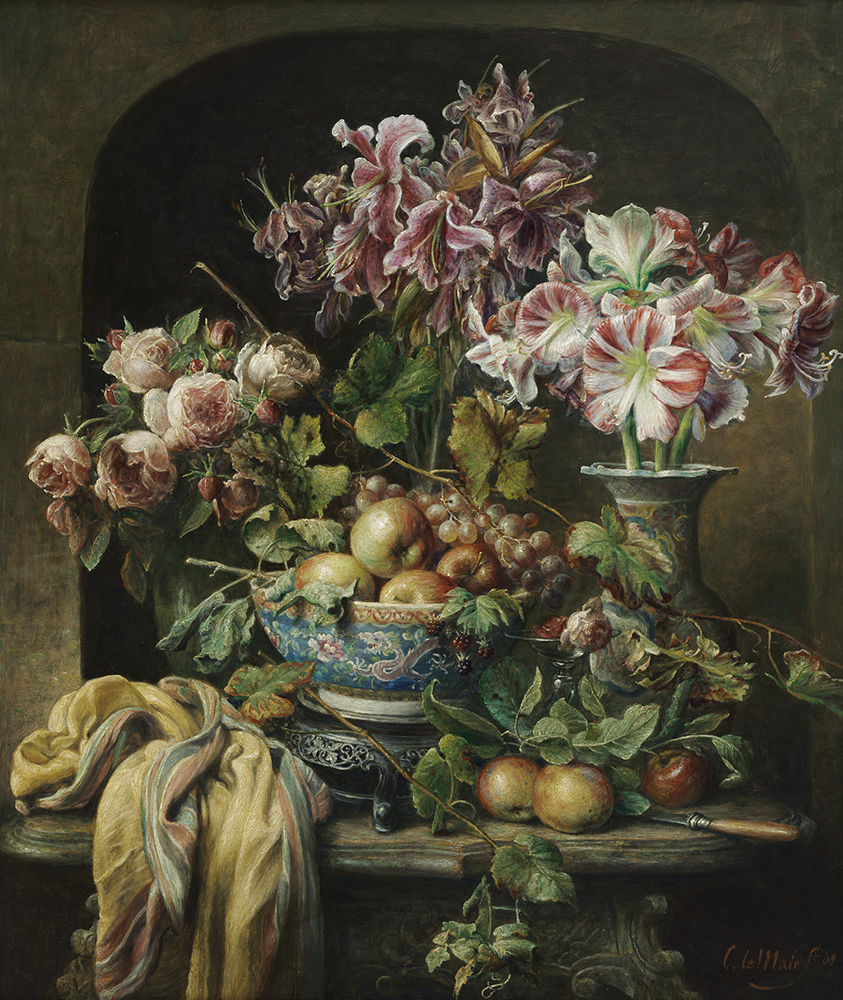 Flower still life with amaryllis, lilies and roses  Oil on linen  37.4 x 31.5 in.