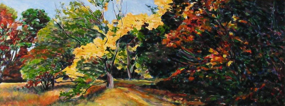 Fall Arboretum  Oil on board  20 x 45 in.