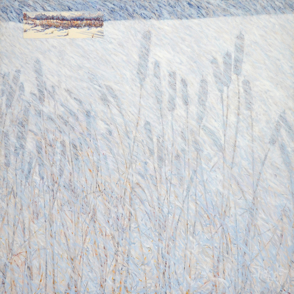 Winter  Oil on canvas with watercolor on paper collage 44 x 44 in. 2013