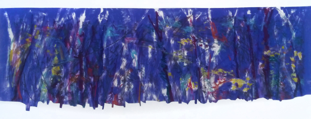 Woodland  Printers ink and oil pastel on mylar  18 x 30 in.