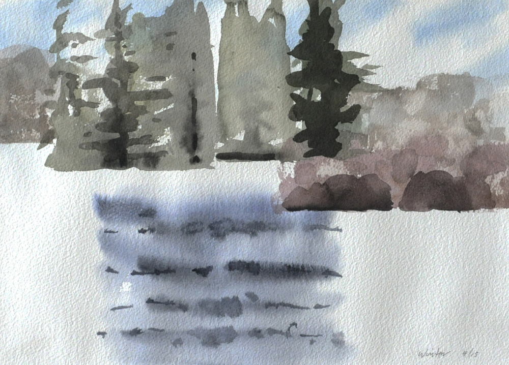 Early Spring Olney Pond Watercolor on paper 10 x 14 in. 2015