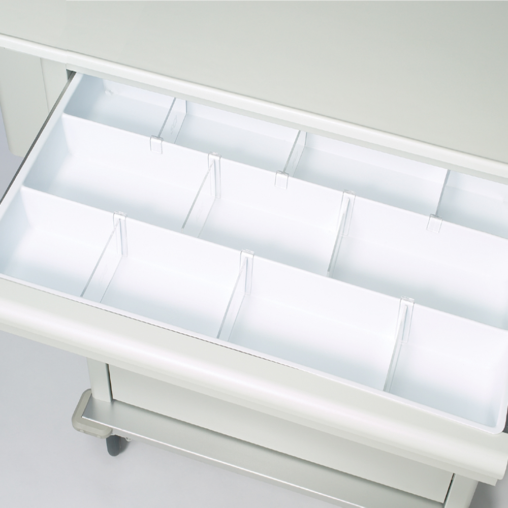 Clear plastic dividers for liner tray.