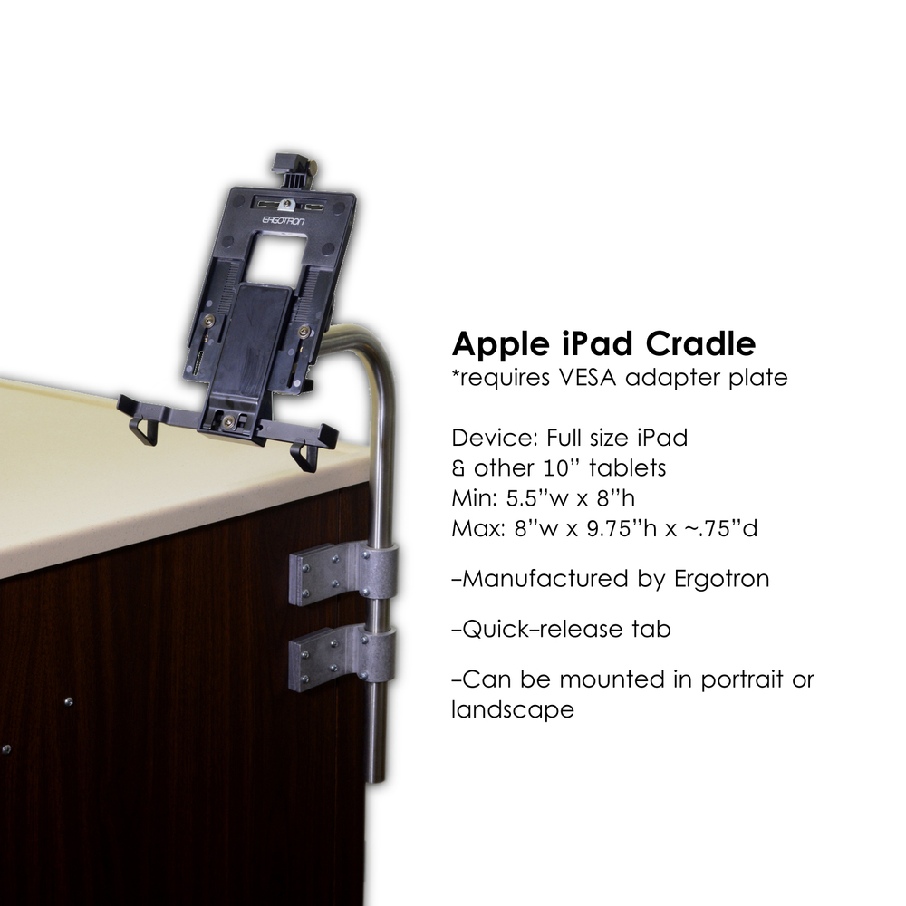 L0736-Computer Stand, Standard -for tablets with L0730C-Ergotron cradle for iPad