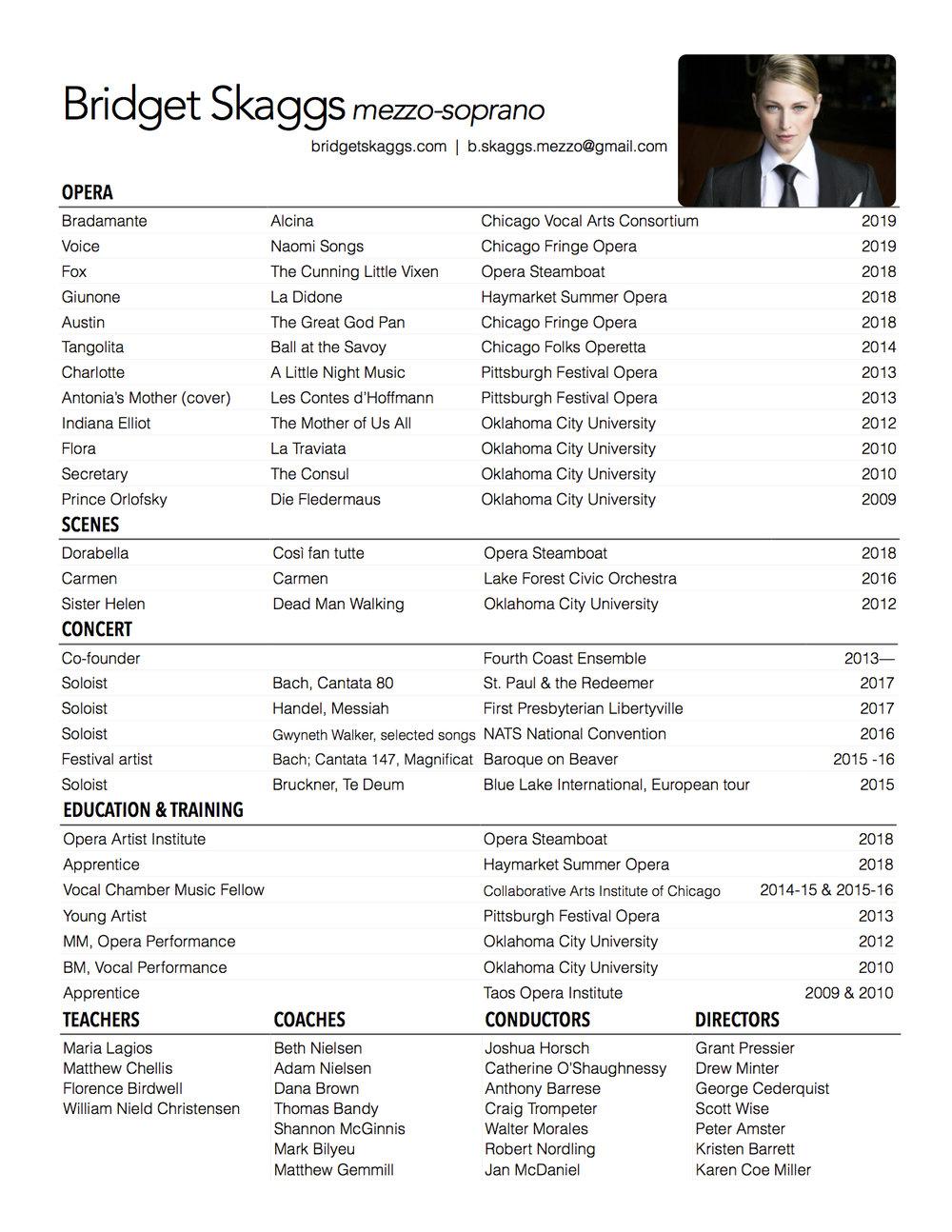 2019 Bridget Skaggs Opera Resume
