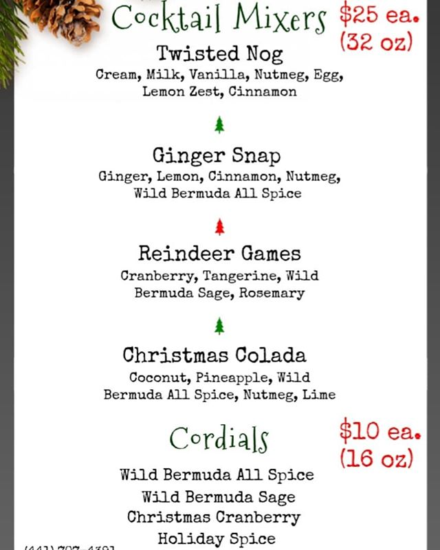 Our Holiday Cocktail Mixers are back just in time for Christmas! Perfect for all occasions, just add holiday 'spirit' or great as a Mocktail! Bring the party!  For orders please send us a DM or you can email us at stefan@twistedspoon.rocks  Merry Christmas Bermuda!  #bermuda #holidayparty #cocktail #cocktailmixers #mixologist #cocktailtime #mocktails #madewell #freshisbest #merrychristmas #holidaymixer #craftcocktails #islandholiday #local #golocal #localingredients #ahhhbermuda #christmasinbermuda #hohoho #santascoming #bringtheparty