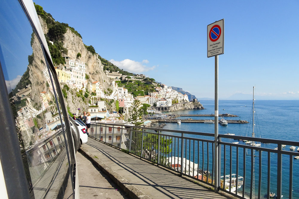 2.) Amalfi Coast - While the Amalfi Coast is gorgeous, vans are considered unwelcome and security will tell you to move on. Dense traffic takes away from the picturesque experience. Do yourself a favour and visit this beautiful region by train. That way you can enjoy everything it has to offer, without the stress.