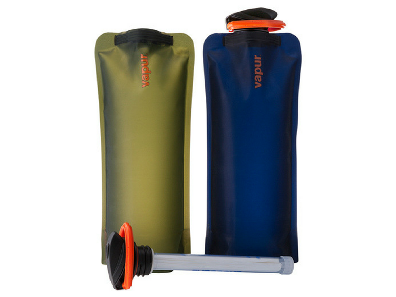 1.) Vapur Water Bottles and Purifier - These water bottles weigh next to nothing and clip easily onto the outside of your pack. When not in use, simply roll and tuck them away in a side pocket ready for next time. Drink water straight out of a stream or water source, by using the water filter attachment.
