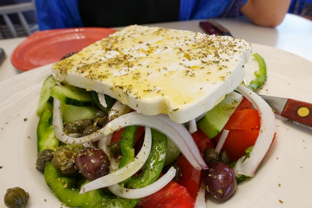 1.) Greece - You can't go wrong ordering a greek salad and a vegetarian eggplant moussaka.