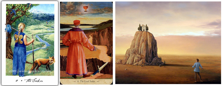 The Fool as Seeker  - From left to right,    Gaian Soul Tarot ,  The Grail Tarot , Wanderer by Jim & Lynn Lemyre 2010.
