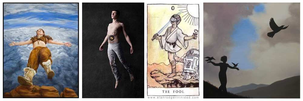 The Fool as The Leap of Faith - from left to right -Painting by Alissa Blaney,  The Fool by Jak Flash,  Luke Skywalker as the Fool by Elan Rodger, Learning to Fly by Jim & Lynn Lemyre.